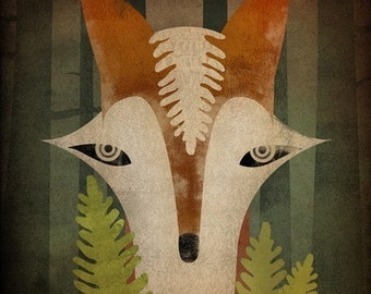 Fox in the Ferns GRAPHIC ART Illustration  print SIGNED