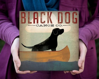 BLACK DOG (Yellow, Brown, and Red too) Canoe Company Canvas 8x8x1.5 inches SIGNED