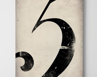 No. 5 Vintage-Style Gas Station Number  - Gallery Wrapped Canvas Wall Art