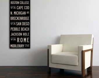 Free Customization Text Bus Scroll MADE TO ORDER  Wedding Gift Gallery Wrapped Canvas Wall Art Ready to Hang
