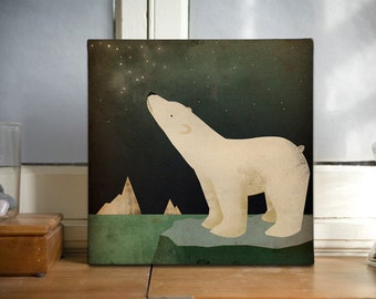 POLAR BEAR Constellations - Gallery Wrapped Canvas Wall Art 16x16x1.5 inch signed