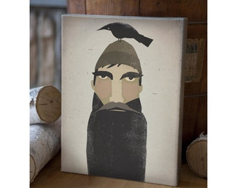 Lumberjack and Crow - Graphic Illustration Gallery Wrapped  CANVAS signed