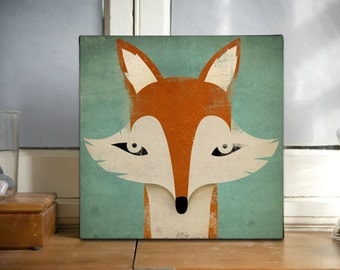 Mister Fox Graphic Art READY-TO-HANG Stretched Canvas wall art signed