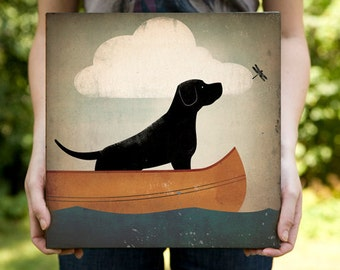 Black Dog (Yellow, Brown, Red, too) Canoe Company Stretched Canvas Panel Signed and Dated Labrador Retriever wall art