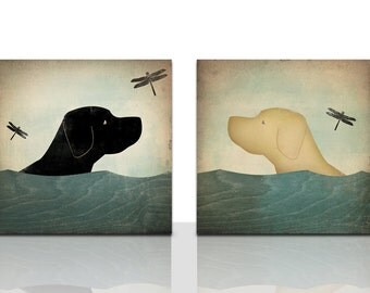 Summer Swim Dogs Graphic Art Gallery Wrapped Stretched Canvas Diptych pair - 10x10x1.5 - Ready-to-Hang - Signed