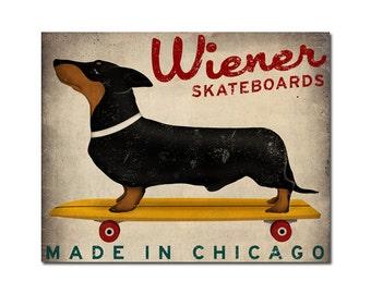 CUSTOM Wiener Dog Dachshund Skateboards  -  Print Signed