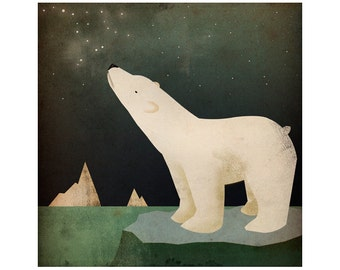 CONSTELLATIONS Polar Bear  ART ILLUSTRATION giclee print Signed