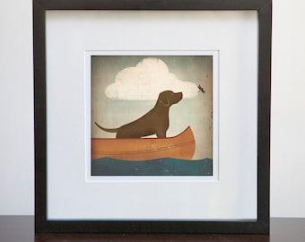 ANY PRINT Brown Dog Canoe Ride Custom Framed 5x5 Giclee Print 10X10 Wood Frame Chocolate Lab