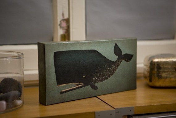 Barnacle Whale GRAPHIC ART ILLUSTRATION collage on CANVAS 6x12 inches by Ryan Fowler SIGNED