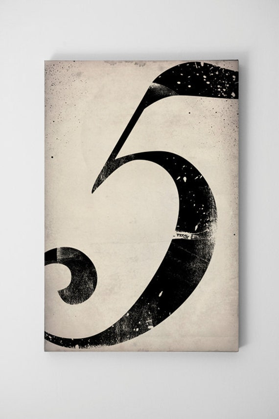 Numeral Vintage-Style Gas Station Number  -  Gallery Wrapped Canvas Wall Art Ready-to-Hang by Ryan Fowler