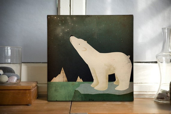 POLAR BEAR Constellations  - Stretched Canvas Wall Art 12x12x1.5 inch by Ryan Fowler Native Vermont