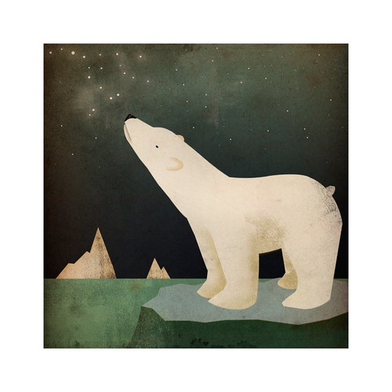 CONSTELLATIONS Polar Bear  ART ILLUSTRATION giclee print Signed