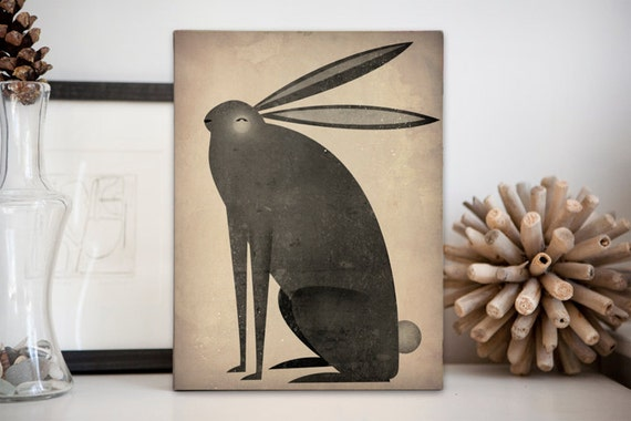 The Black Rabbit -  Illustration on Stretched Canvas 9x12x1.5 Wall Art Signed by Native Vermont