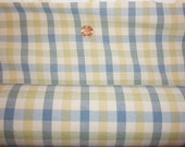 blue, yellow, white plaid upholstery fabric