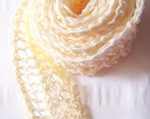 Lace embellishment hand knit cream cotton thread  one yard ready to ship