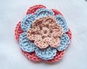 Flower crocheted appliques blush blue coral 3 inch Egyptian cotton