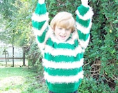 Children sweater pullover  with strips Green peach and cream size 9-10 July sale