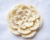 Appliques 1big hand crocheted flower 5 inch embellishment sew on baby yellow