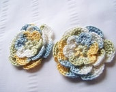 Appliques 2 hand crochet flower 2.5 inch embellishment sew on island