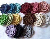 Crochet flower x 15 appliques 3 inch cotton rainbow color