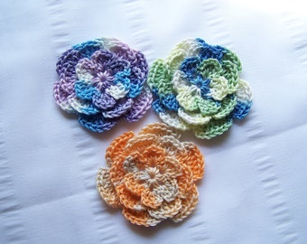 Crocheted flowers 2.5 inch in shaded colors set of 3