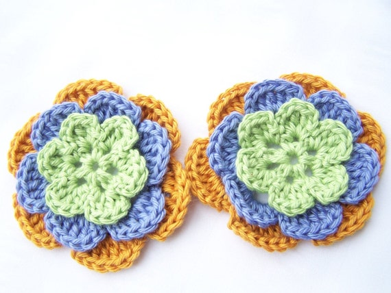 Appliques 2 hand crocheted flowers 3 inch 50% off SALE Half off SALE.
