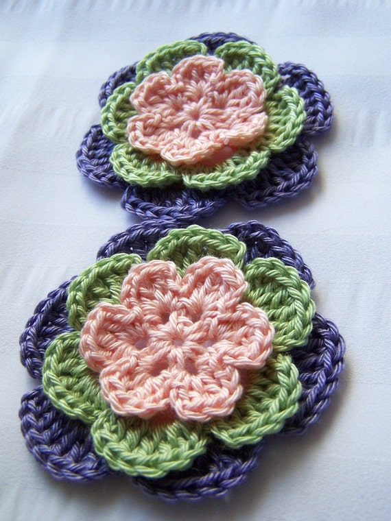 Flower set of 2 appliques hand crocheted peach green lavender 2.5 inch