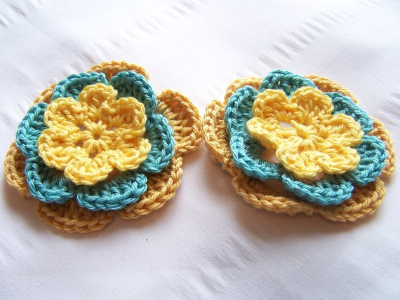 50% off SALE Half off SALE Appliques crocheted flowers 3inch yellow aqua gold cotton
