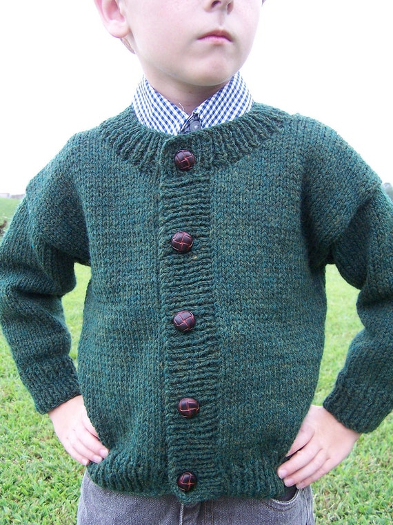 Cardigan dark green color sweater children 4T-5T hand knit for girl boy