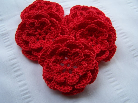 Appliques 5 hand crochet flower  red 3inch cotton