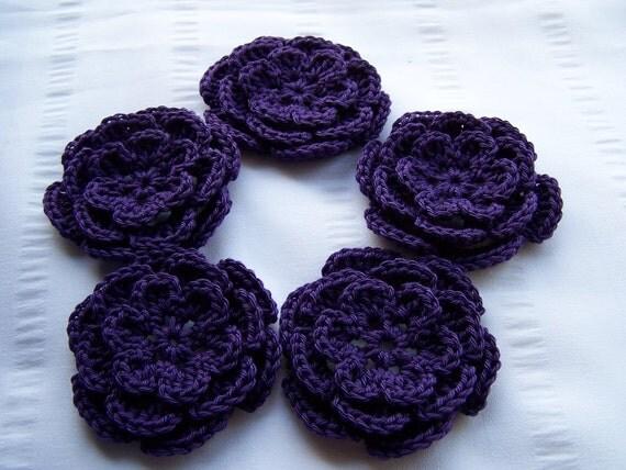 Appliques 5 hand crochet flower deep purple 3inch cotton