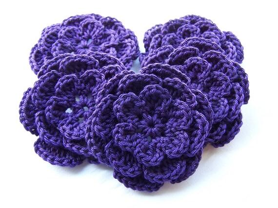 Crochet flower motif set of 5 deep purple 3inch cotton