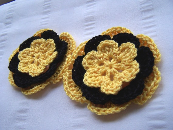 Appliques 2 hand crocheted flowers 3 inch embellishment sew on yellow black yellow