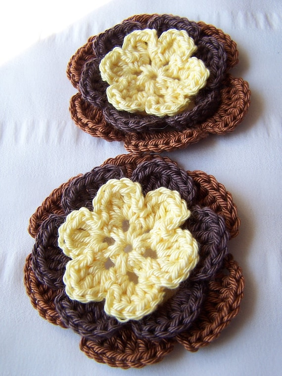 50% off SALE Half off SALE Crocheted flowers 3 inch light yellow brown