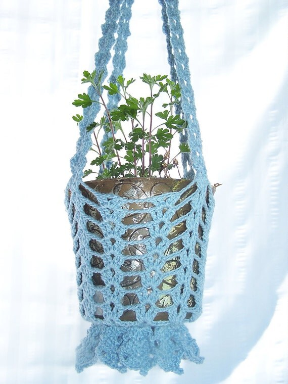 Flower hanging basket in light blue crocheted for flower pots