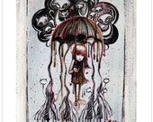 Rain Rain Grow Away, Limited Edition Emily The Strange Art Print