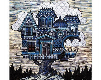 Home Tree Home, Limited Edition Archival Giclee Print 10x10