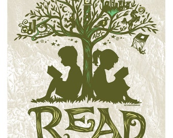 Reading Tree - 8x10 Art Print, Every Book An Adventure, Literature Getaway Read Escape Fiction