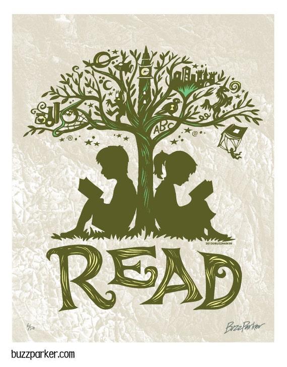 Reading Tree - 8x10 Art Print, Every Book An Adventure, Literature Getaway Read Escape Fiction