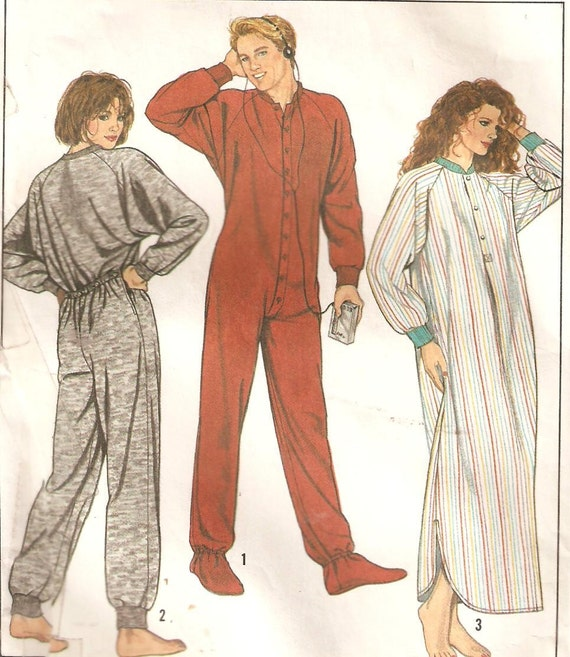 Men's or Women's Nightshirt or Footed Pajamas Sewing Pattern Size Large Simplicity 8958