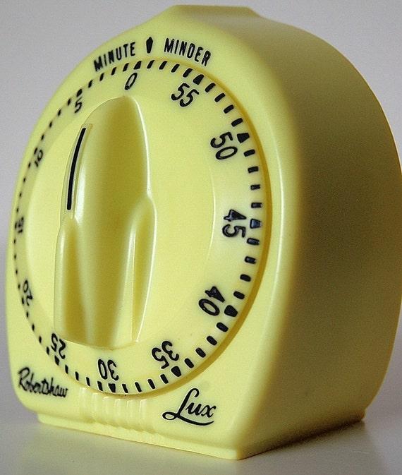 Vintage Retro Lemon Yellow Kitchen Timer Robertshaw LUX Minute