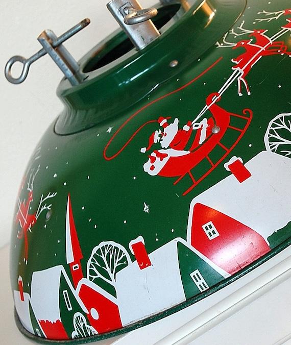Vintage retro metal christmas tree stand dome santa and his
