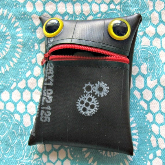 Gizmo the Recycled Tire Monster coin purse pouch