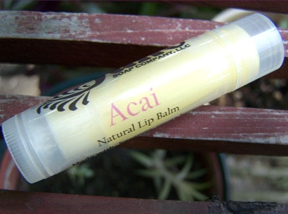 Acai Berry Lip Balm - All Natural with Beeswax and Cocoa Butter and Vitamin E - Great Stocking Stuffer!