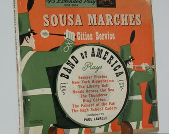Sousa Marches  Cities Service  45 RPM Record - Set of 2 - Vintage Vinyl