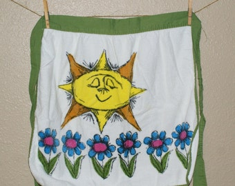 Vintage Terrycloth Apron - 1970s Sunshine and Flowers Apron