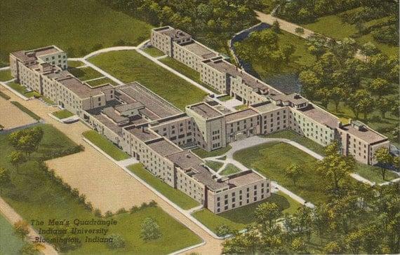 Indiana University Postcard  1956  Men's Quadrangle