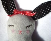 Plush sweet fleece sleepy bunny in slate gray