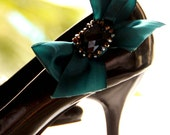 Kyra - Teal bow shoe clips with black crystal and glass beads centrepiece