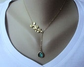Gold Orchid Lariat, Sea Green Glass Teardrop, Gold Filled Chain, Gift for, Mother, Sister, Wife, Anniversary, Christmas, Mother's Day